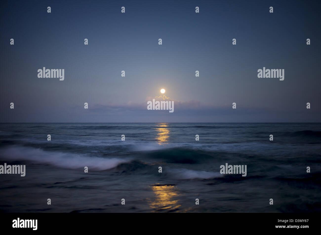 Moonset. Hawaii, The Big Island. Stock Photo