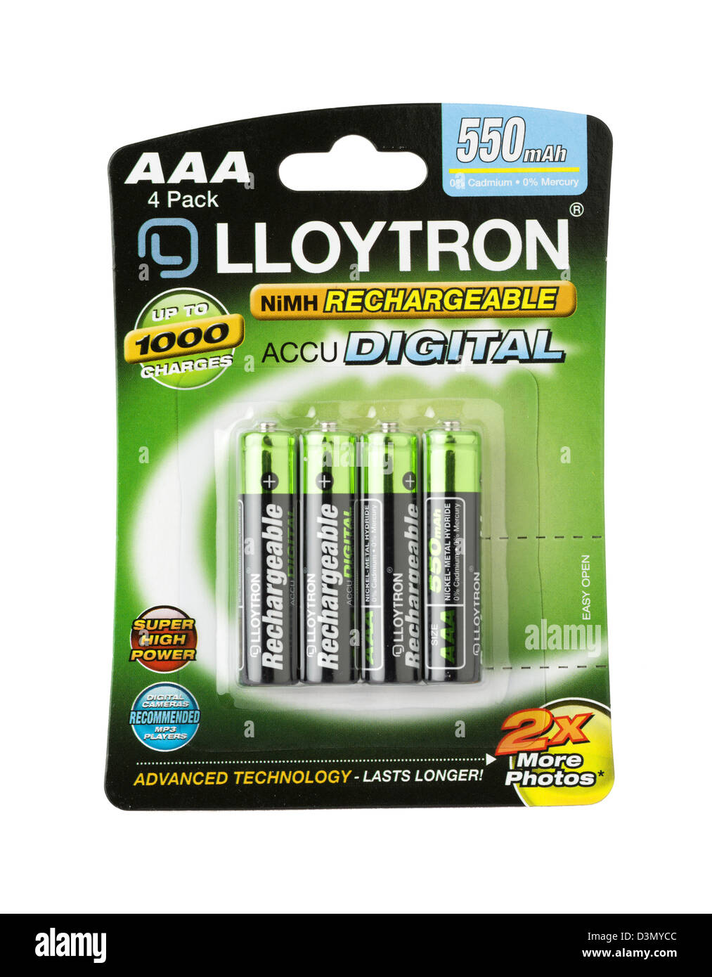 AAA NiMH Rechargeable Batteries Stock Photo