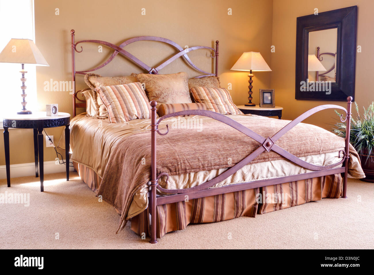 Modern Master Bedroom With King Size Bed Stock Photo Alamy