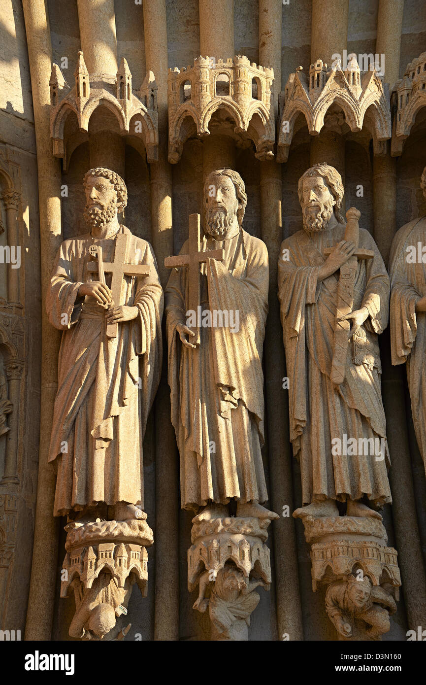 Gothic statues of an array of saints. Gothic Cathedral of Notre-Dame, Amiens, France - Stock Image