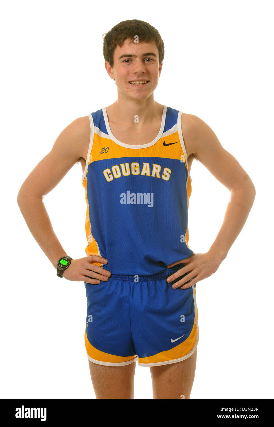 Standout High School Cross Country runner in CT USA - Stock Image