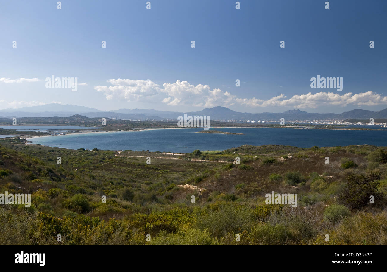 Panoramic view of Olbia gulf, Olbia Tempio province,  North-east coast of Sardinia,Italy Stock Photo