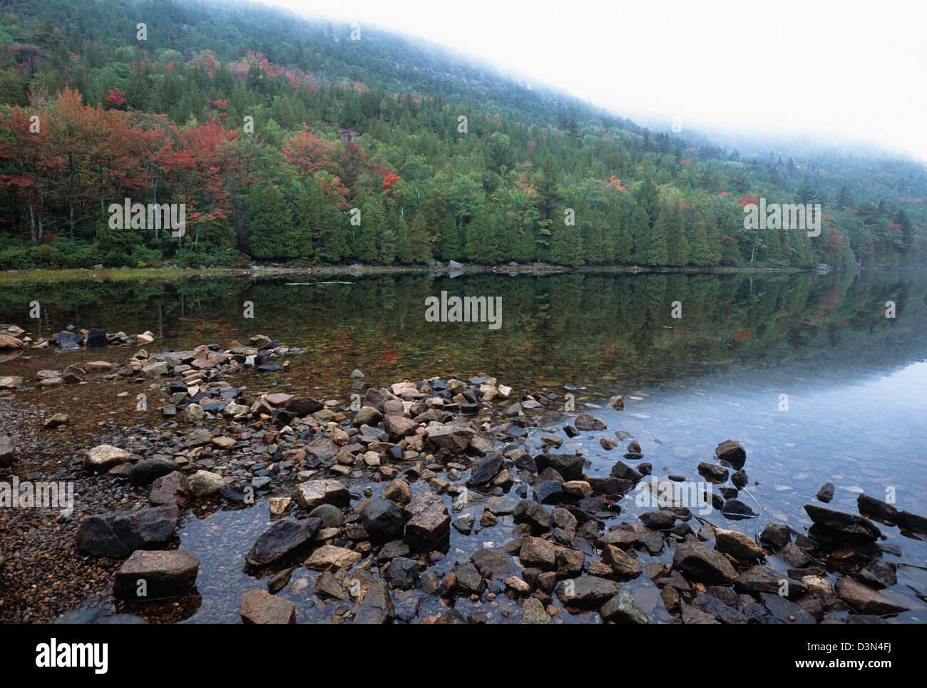 Elk282-2204 Maine, Acadia National Park, Bubble Pond - Stock Image