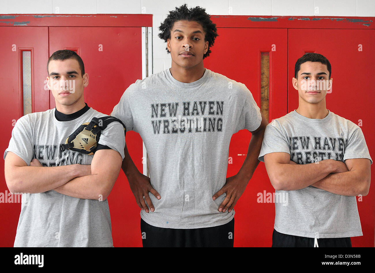 High school wrestlers in New Haven CT USA - Stock Image