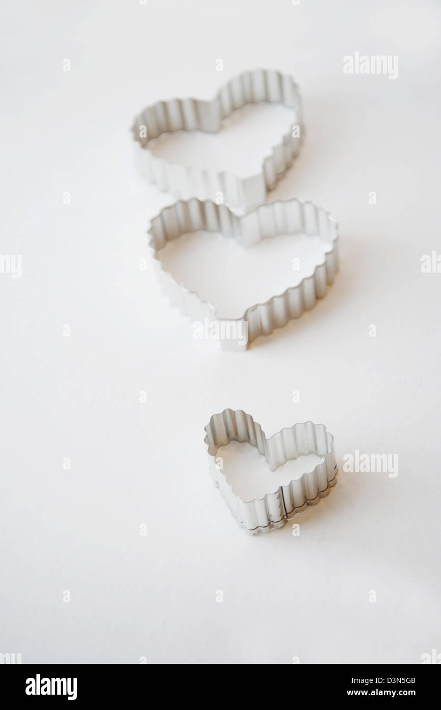 Heart shaped cookie cutters - Stock Image