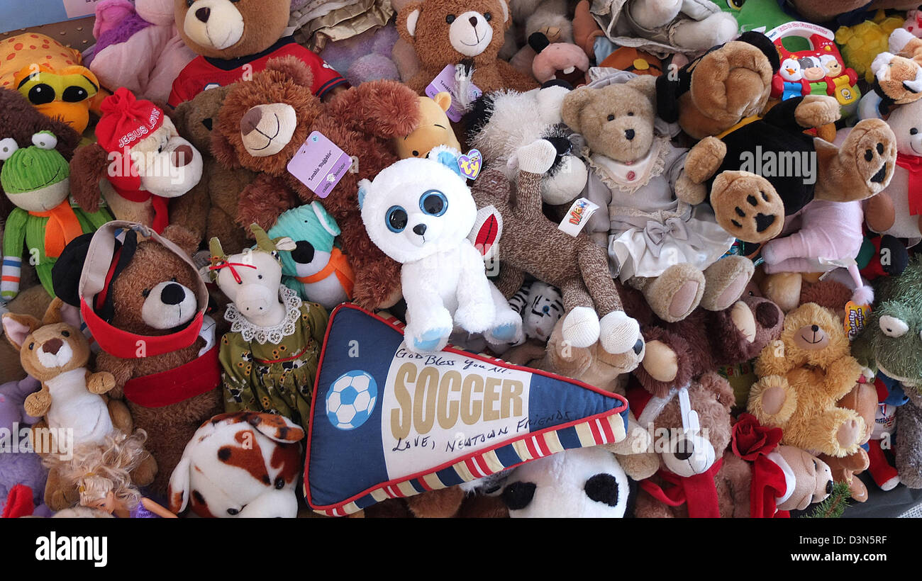 Stuffed animals sent from around the world to the victims of the Sandy Hook shooting Spree in Newtown CT USA - Stock Image