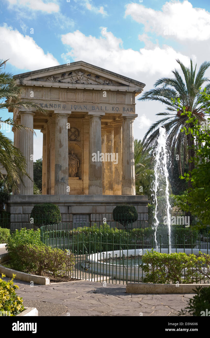 Valletta, Malta, memorial to Alexander Ball in the form of a Roman marble temple - Stock Image