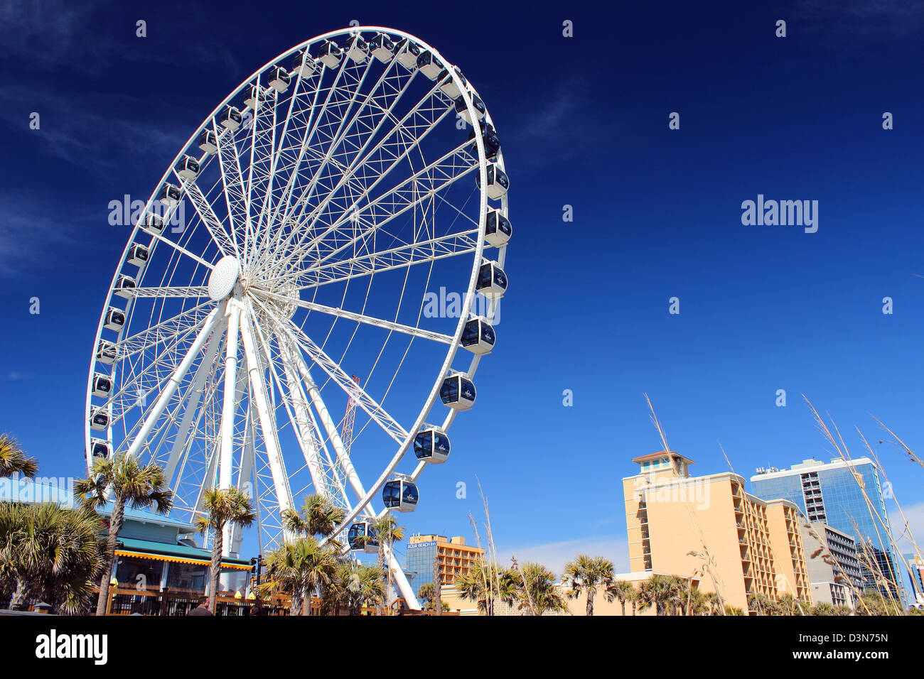 The Sky Wheel On The Boardwalk In Myrtle Beach Sc Usa Against A