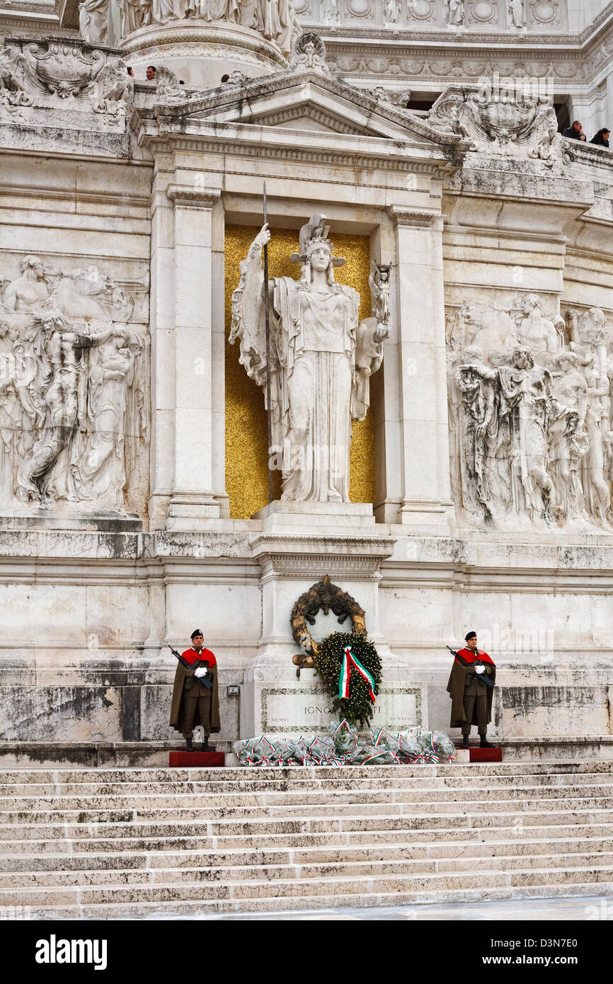 Rome, Italy, vigil at the Tomb of the Unknown Soldier at the Altar of the Fatherland - Stock Image