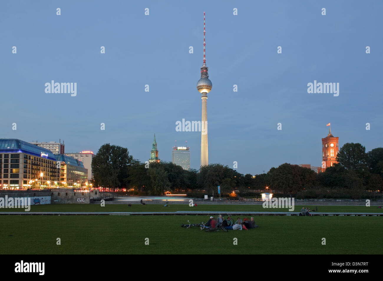 Berlin, Germany, View from Castle Square towards Alexanderplatz at night - Stock Image