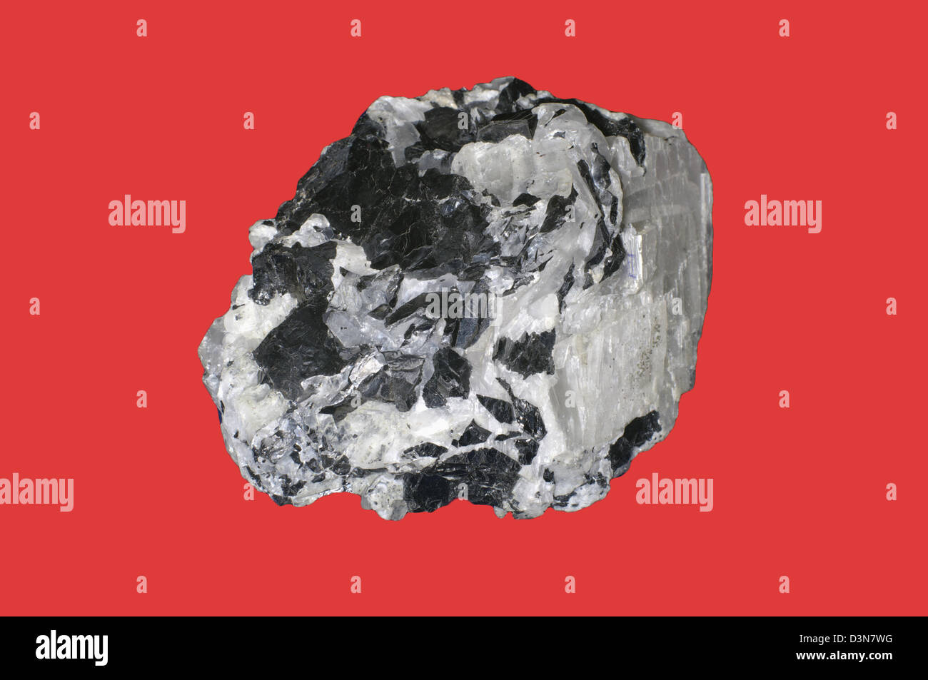 sphalerite, calcite on red - Stock Image
