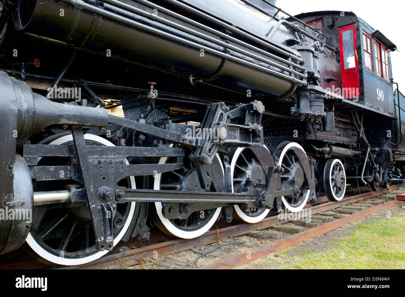 old black steam locomotive train with closeup of wheels. Black Bedroom Furniture Sets. Home Design Ideas