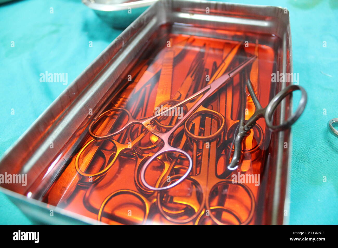 Bloody surgeons tools in a makeshift rebel hospital in Aleppo, Syria. Stock Photo