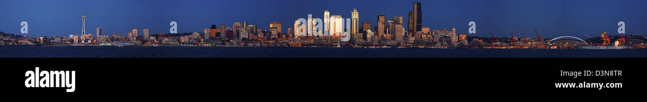 The city of Seattle from the Port of Seattle to the Key Arena and the Space Needle at the Seattle Center on Elliot Stock Photo