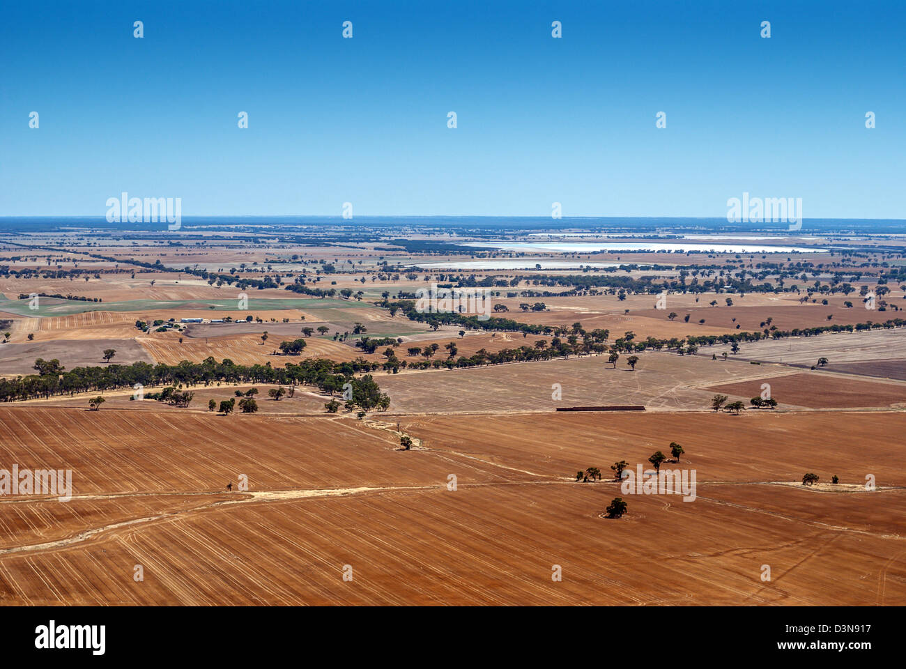 Parched farmland seen from Mt Arapiles is almost barren during a drought in Australia. Others in series - Stock Image