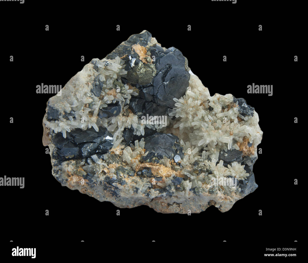 quartz, sphalerite, pyrite isolated on black background - Stock Image