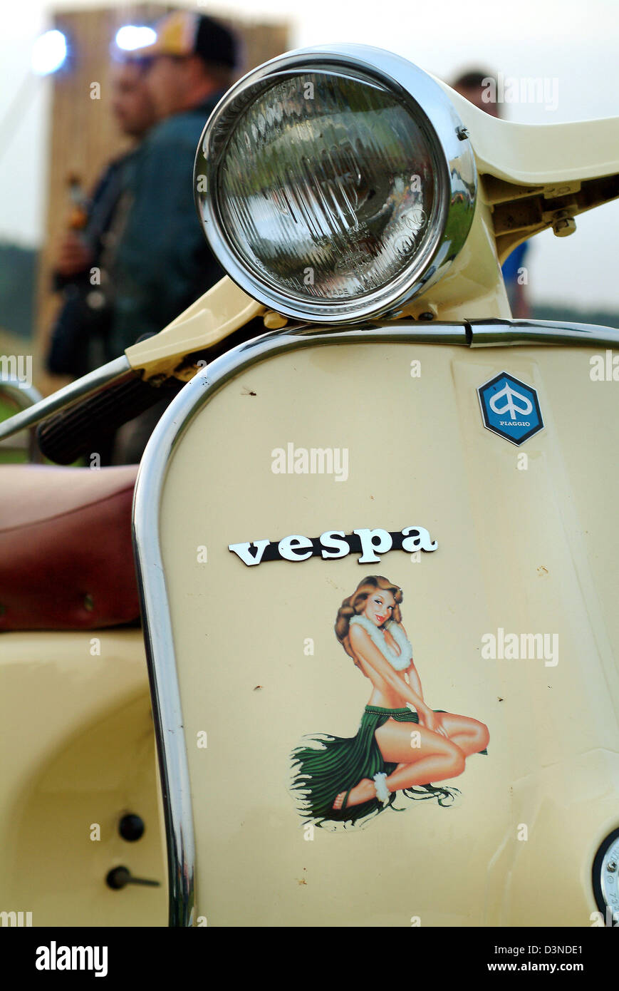 Files a vespa scooter with a hawaii girl sticker pictured at the lunedi vespa meeting in osterhofen germany 25 july 2004 photo rolf schultes