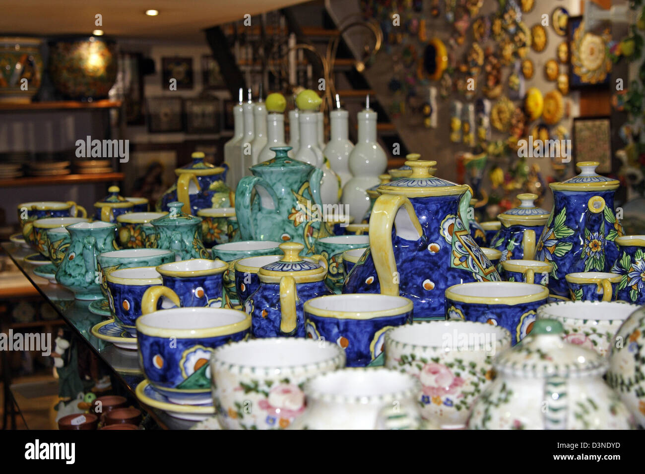 (dpa file) - The picture shows colourful ceramic tableware  typical for the region on sale at a local arts and craft Stock Photo