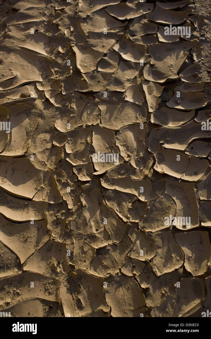 Cracked earth and drought in the Namibian desert - Stock Image