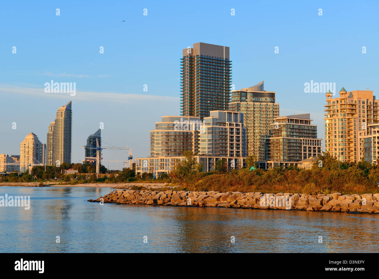 Toronto cityscape at waterfront in the morning after sunrise. - Stock Image