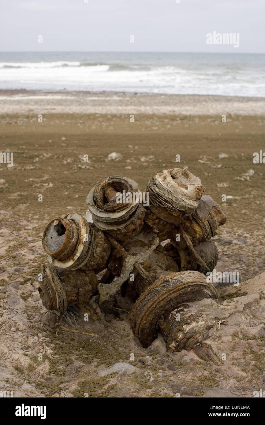 Wreckage of a Ventura 1942 Bomber on the Skeleton Coast, Namibia - Stock Image