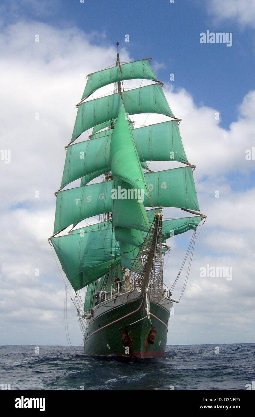 The barque Alexander von Humboldt famous from a beer advert cruises in the Pacific Ocean offshore South America, - Stock Image