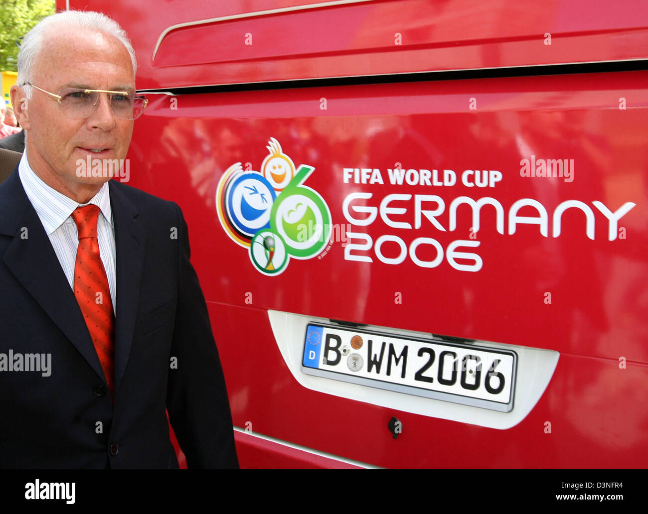 President of the FIFA World Cup 2006 organising committee Franz Beckenbauer is pictured during the handover of the - Stock Image
