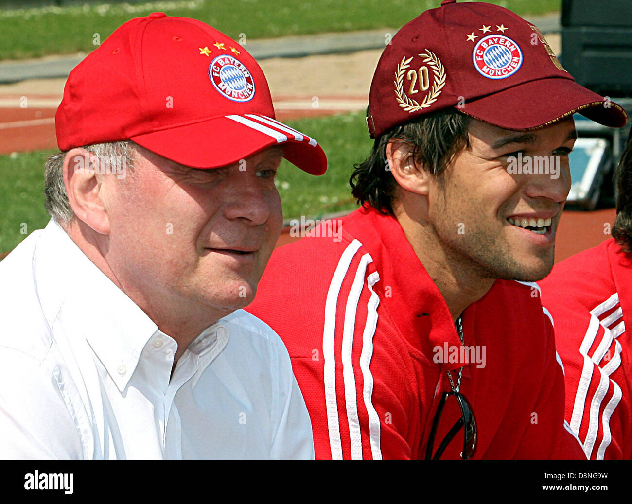 Bayern Muenchen's manager Uli Hoeness and player Michael Ballack watch their team's friendly match against - Stock Image