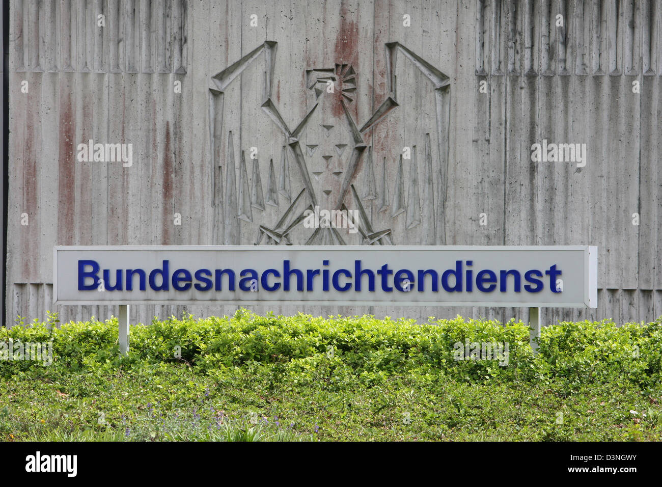 The picture shows the entrance area of the BND (Federal Intelligence Service) with a stylised Eagle in Pullach close - Stock Image