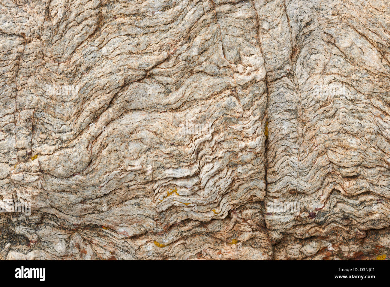 Texture of magma rock on land surface close-up - Stock Image