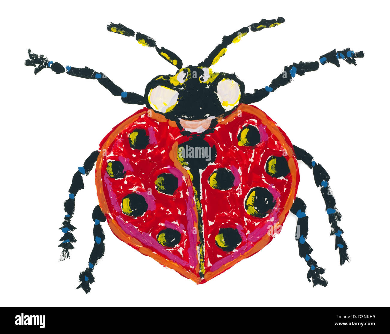 Isolated Ladybird - primitive painted baby picture. Paint had dried and cracked - Stock Image