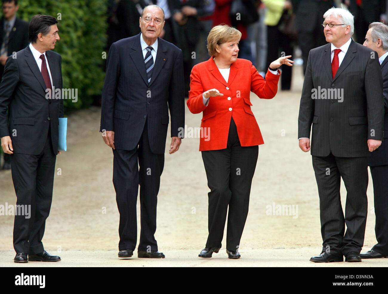 (L-R) French Foreign Minister Philippe Douste-Blazy, French President Jacques Chirac, German Chancellor Angela Merkel - Stock Image