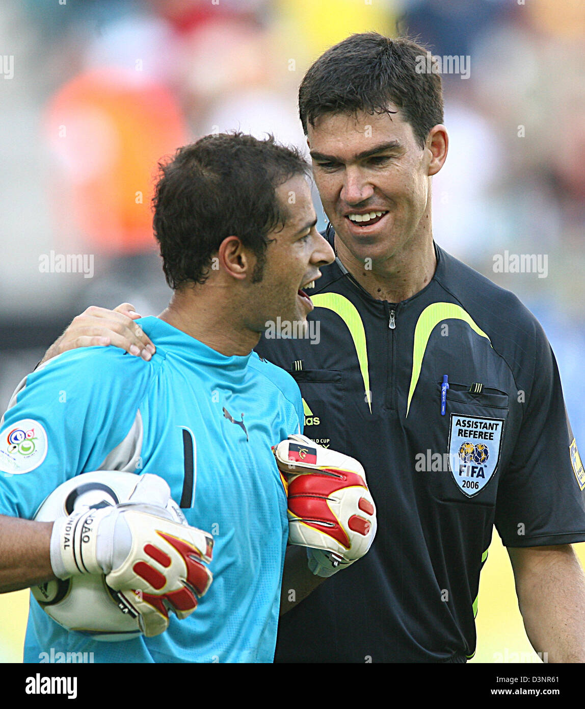 f1bd59bb9 The goalkeeper of Angola Joao Ricardo (L) and the referee Mark Shields of  Australia photographed after the group D preliminary match of 2006 FIFA  World Cup ...