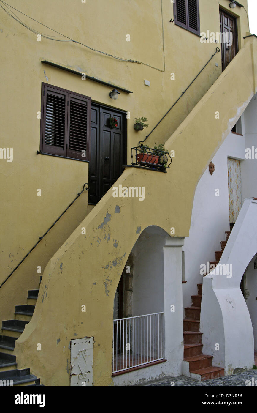 The Picture Shows A House With A Typical Staircase On The Island Procida,  Italy, 10 December 2005. Procida Is One Of Italyu0027s Smallest Islands Next To  Capri ...