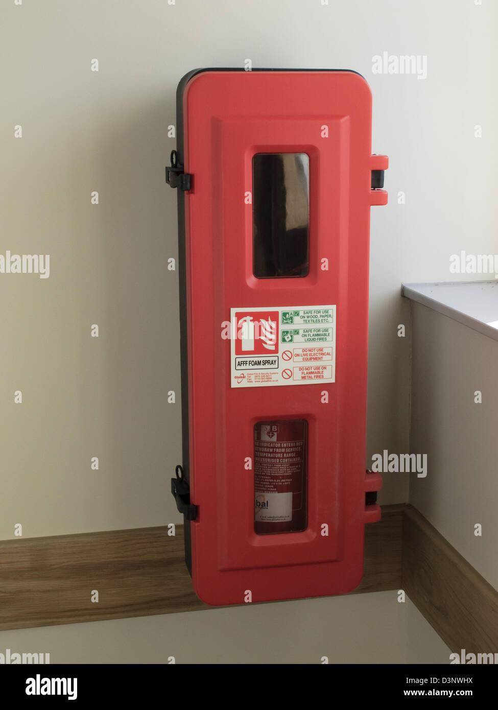 fire extinguisher hotel internal - Stock Image