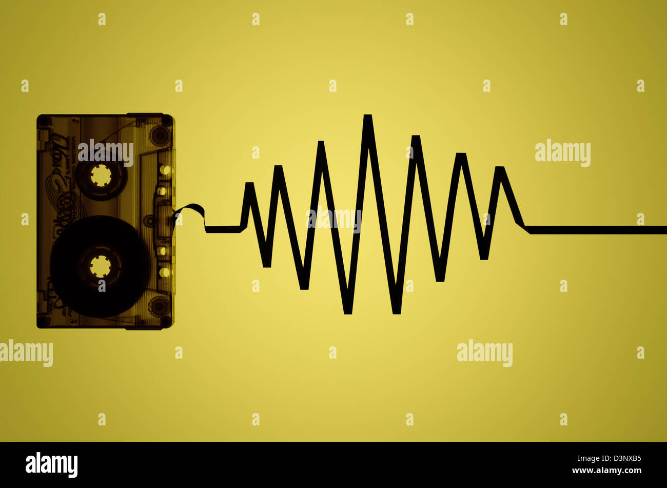 Cassette Tape with sound waves - Stock Image