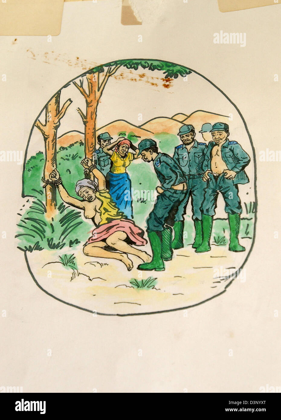 the picture shows a colour drawing found in a clinic depicting a