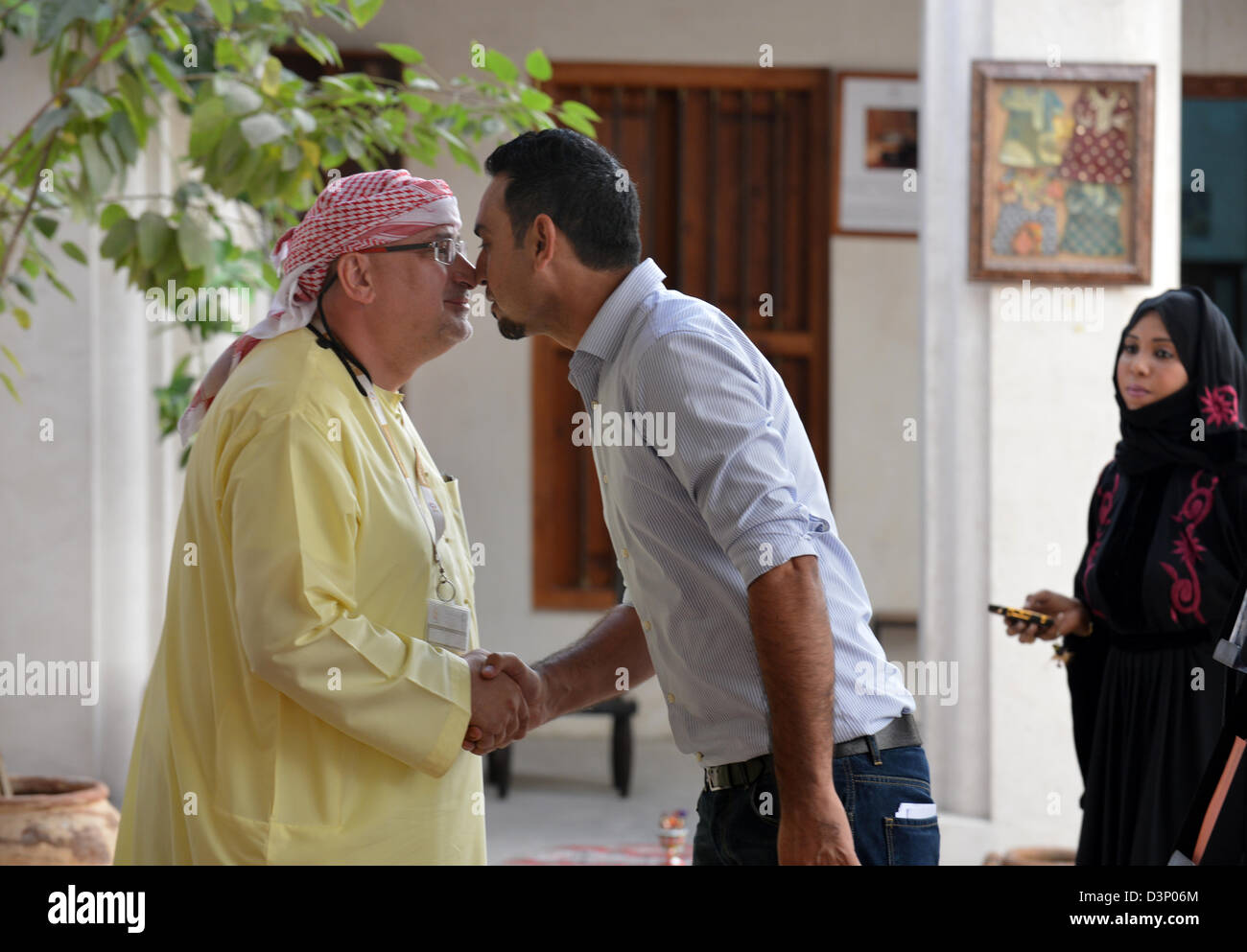 Two Arab Men Greeting Each Other They Are Familiar They Rub Their