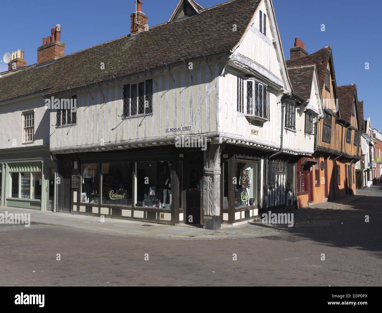 Old Tudor buildings in the town of Ipswich, Suffolk - Stock Image