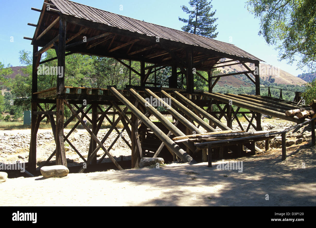 An authentic reconstruction of famous Sutter's Sawmill at Marshall Gold Discovery State Historic Park, Coloma, - Stock Image