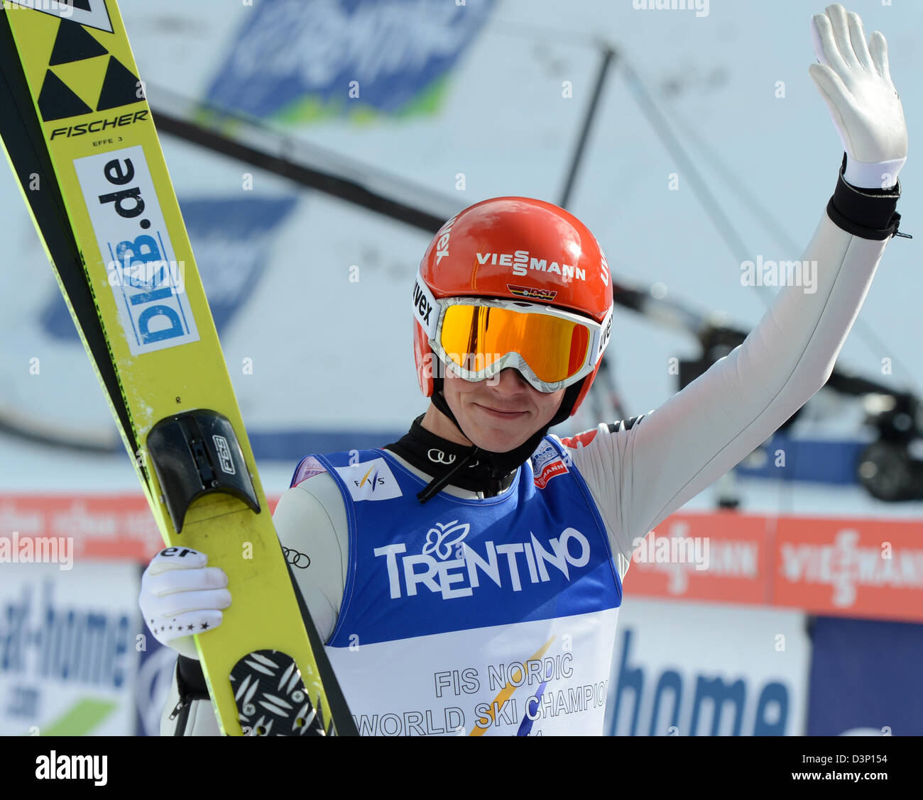 b38662ef4ef981 Eric Frenzel of Germany reacts after his jump in the Individual Normal Hill  Ski Jumping portion of the Nordic Combined competition at the Nordic Skiing  ...