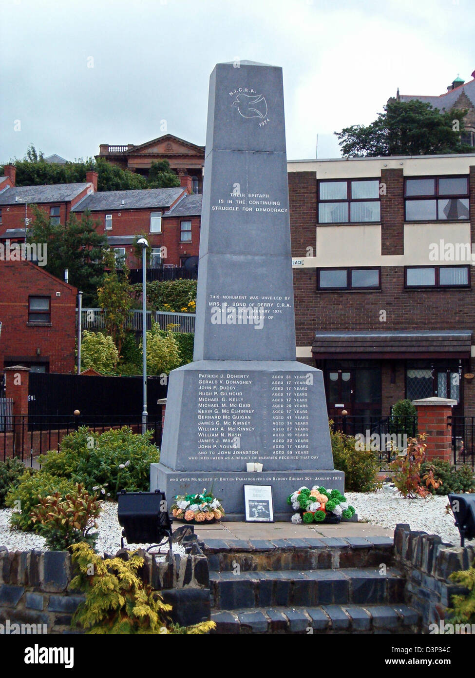The picture shows the memorial for the 'Bloody Sunday' of 1972 in Londonderry, Northern Ireland, 09 August - Stock Image