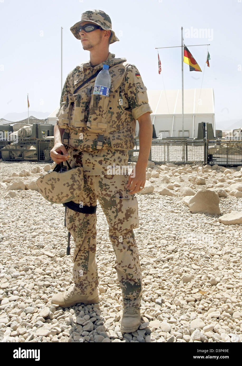 A German Bundeswehr soldier of the Provincial Reconstruction Team (PRT) shown in Masar-i-Scharif, northern Afghanistan, - Stock Image