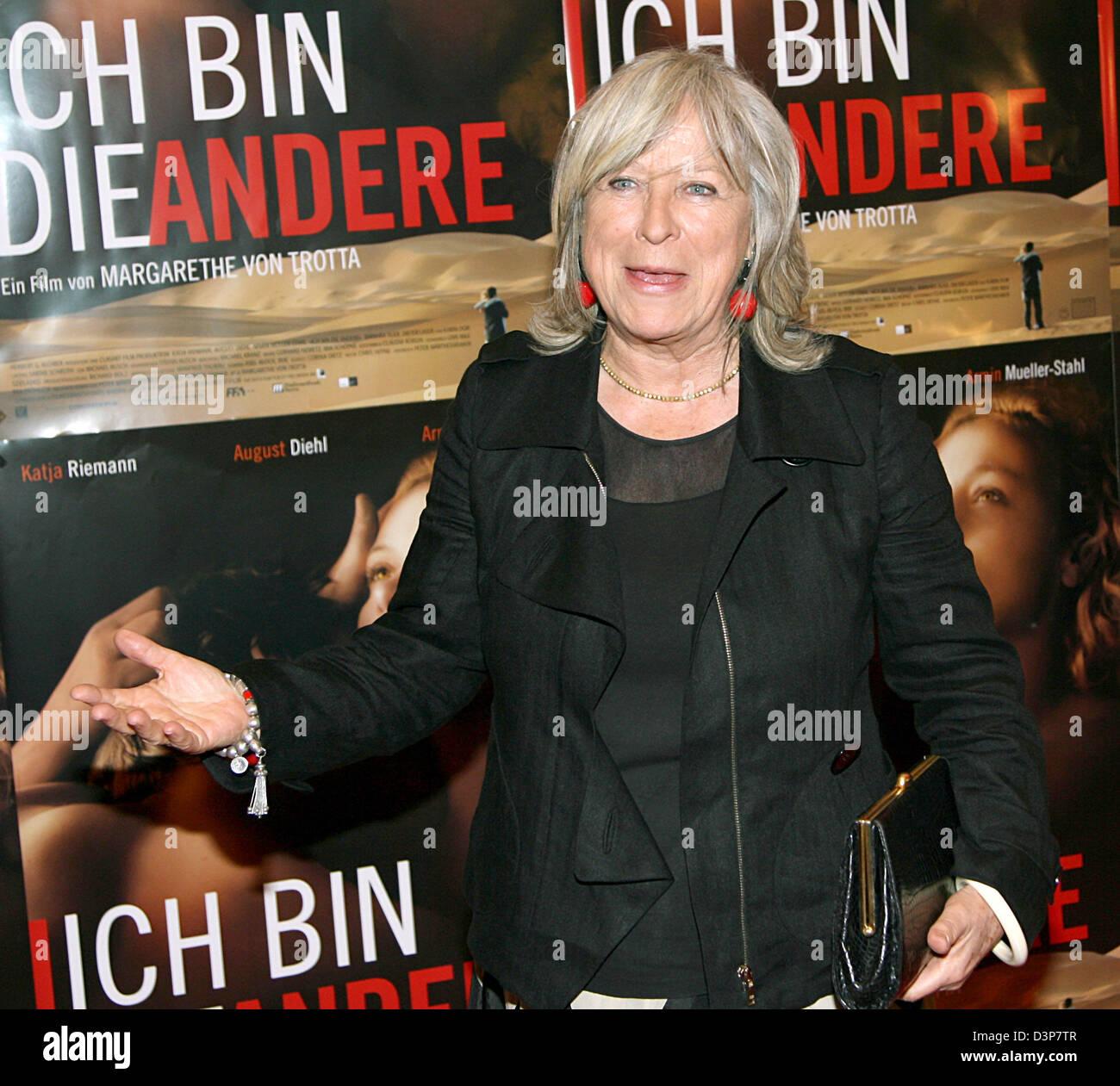 German director Margarethe von Trotta appears for the film premiere 'Ich bin die Andere' in Munich, Germany, - Stock Image