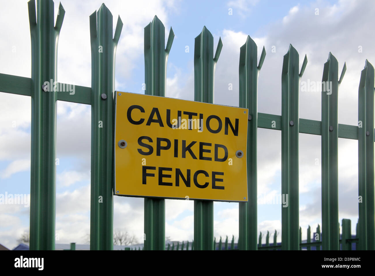 security fence warning sign - Stock Image