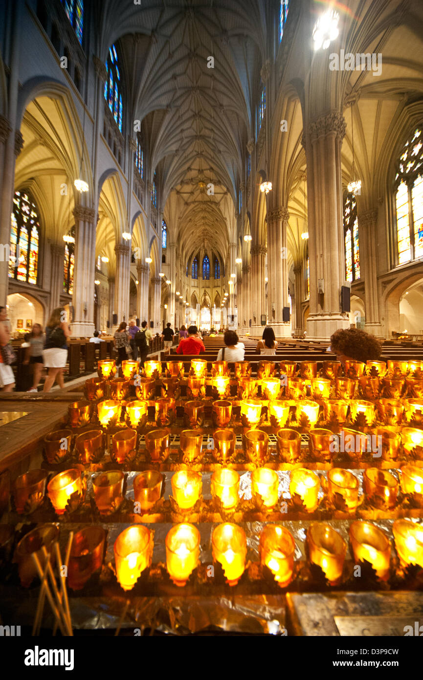 Candles Light Up The Stunning Ornate Interior Of The Neo Gothic St  Patricku0027s Cathedral In New York City.