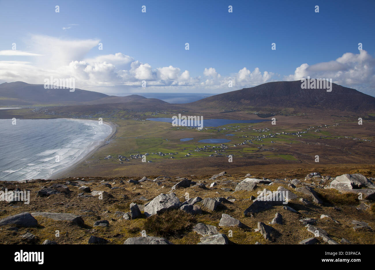 View across Achill Island towards Slievemore, from the Menawn Cliffs, County Mayo, Ireland. - Stock Image