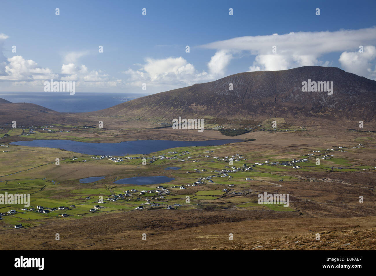 View across Keel and Keel Lough to Slievemore mountain, Achill Island, County Mayo, Ireland. - Stock Image