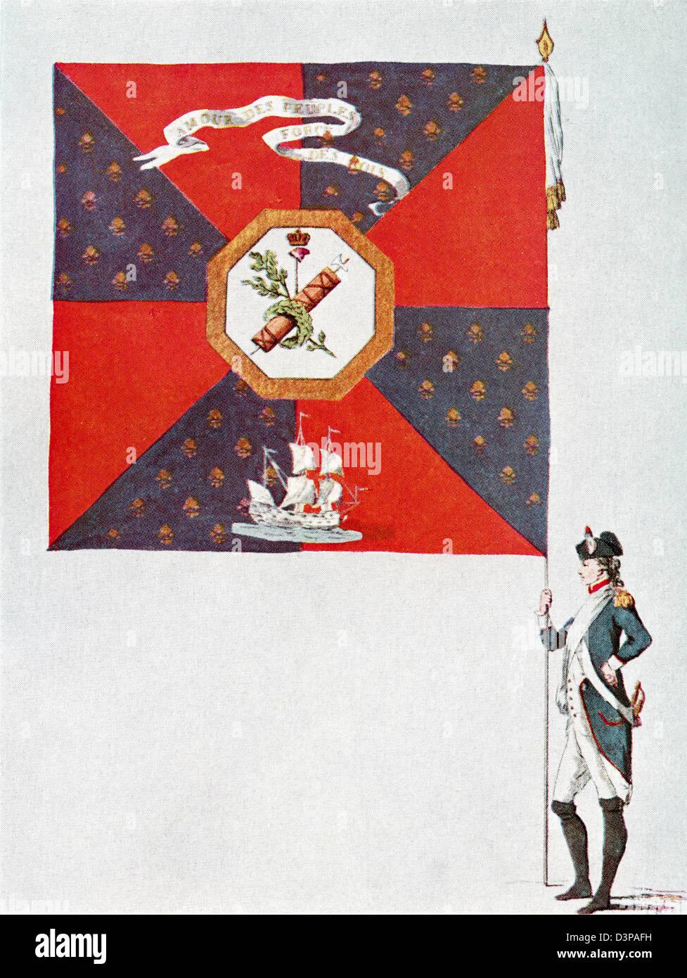Battalion flag of the Parisien National Guard, Battalion de L'Oratoire. - Stock Image