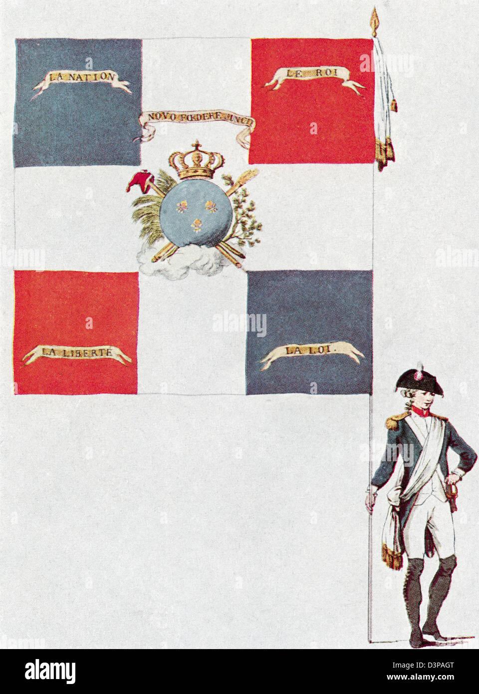 Battalion flag of the Parisien National Guard, Battalion Des Jacobins de Saint-Honoré. - Stock Image